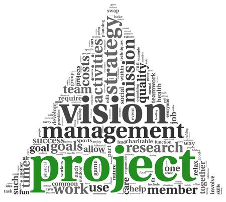 manage: Project and vision concept in word tag cloud on white background