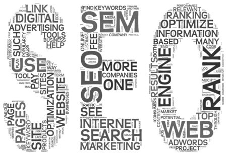 Search engine optimization concept in SEO shape as word tag cloud on white background photo