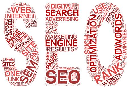word clouds: Search engine optimization concept in SEO shape as word tag cloud on white background