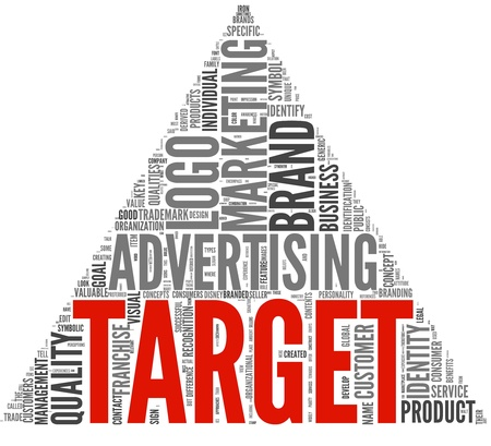 Target of marketing and advertising in word tag cloud on white background Stock Photo - 12659924