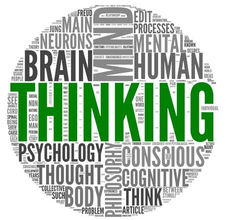 target thinking: Thinking concept in word tag cloud on white backgroung