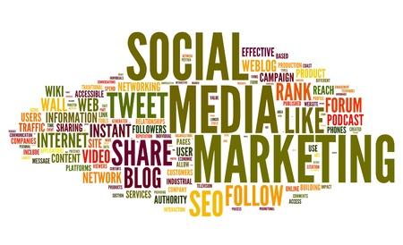 interaccion social: Los medios sociales concepto de marketing en la nube de palabra de la etiqueta en el fondo blanco