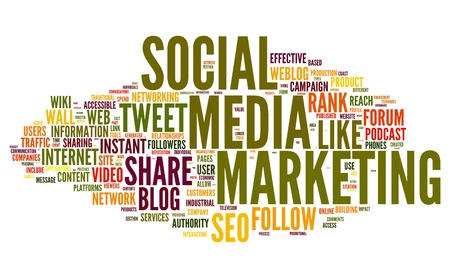 Social media marketing concept in word tag cloud on white background photo
