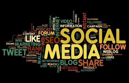 interaccion social: Los medios de comunicaci�n social en concepto de nube de palabra de la etiqueta sobre fondo negro