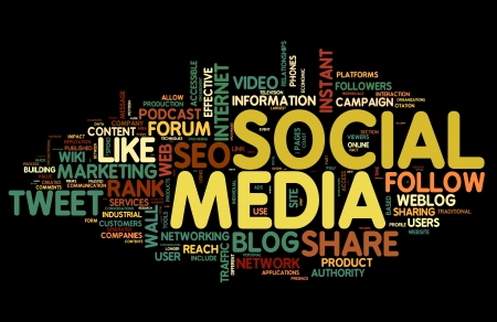 social media marketing: Social media concept in word tag cloud on black background Stock Photo