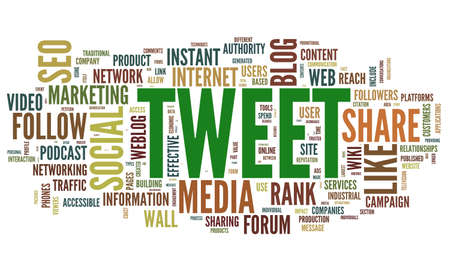 Tweet word in tag cloud isolated on white background photo