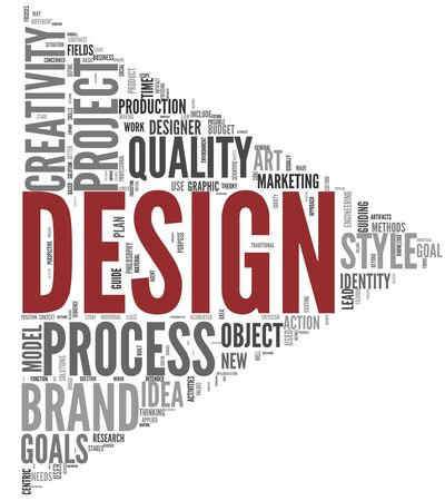 Design concept in word tag cloud on white background photo