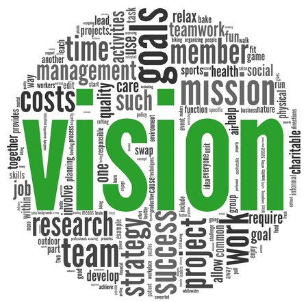 vision mission: Vision and strategy concept in word tag cloud