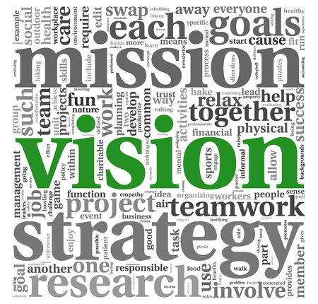 corporate vision: Vision and strategy concept in word tag cloud
