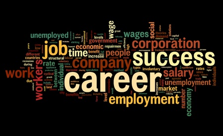 hired: Career related words concept in word tag cloud on white
