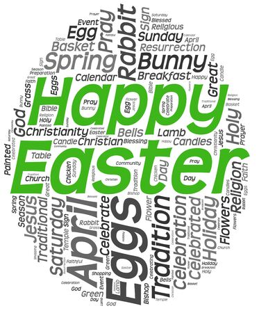 Happy easter greeting card in tag cloud on white background  Egg shape   photo