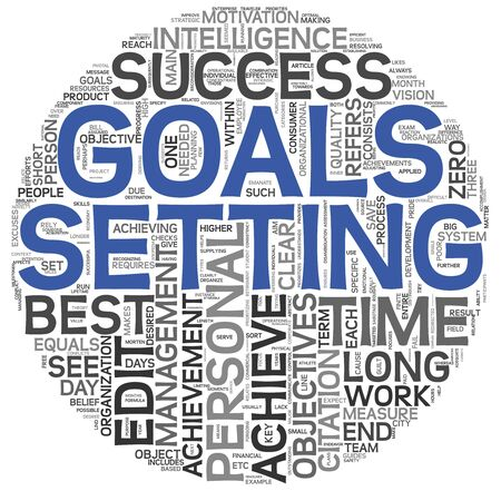 goal achievement: Goals setting concept in word tag cloud on white background Stock Photo