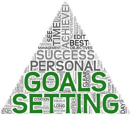 set goals: Goals setting concept in word tag cloud on white background Stock Photo