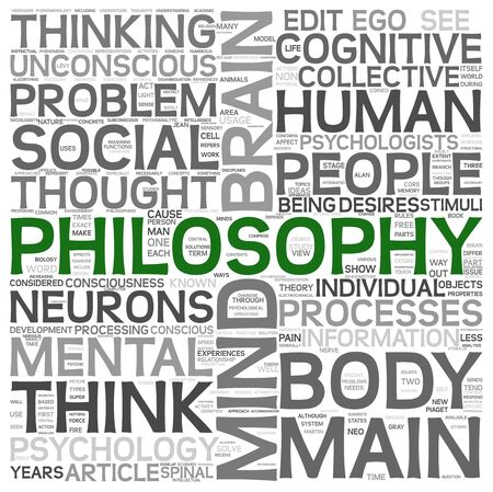 Philosophy concept in word tag cloud on white background photo