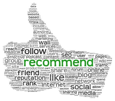 recommend: Recommend as social media concept in tag cloud of thumb up shape  Isolated on white background