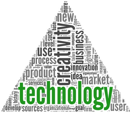 Technology and creativity concept in word tag cloud on white photo