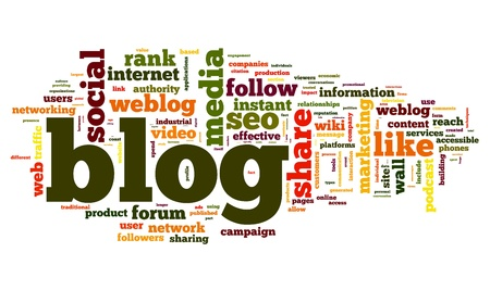 blogging: Blog concept in word tag cloud isolated on white background