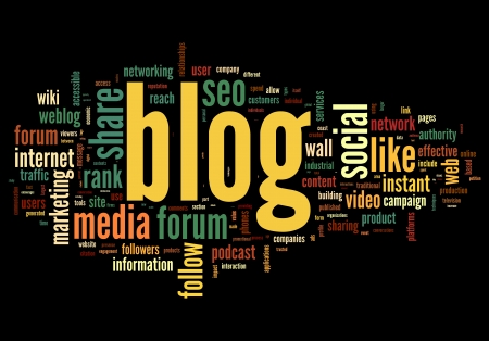 microblogging: Blog concept in word tag cloud isolated on black background