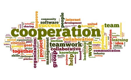 Cooperation and teamwork concept in word tag cloud on white photo