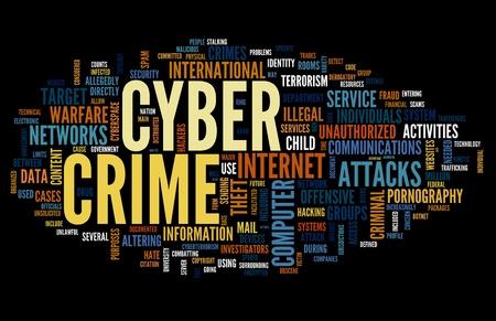 virus informatico: Concepto de cibercrimen en la nube de palabra de la etiqueta aisladas sobre fondo negro Foto de archivo