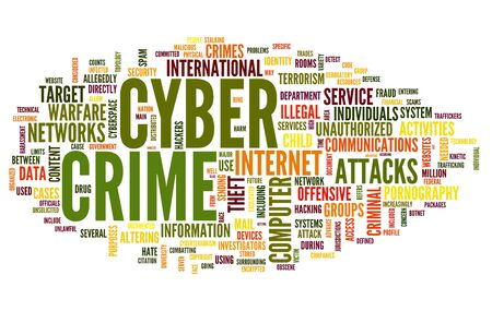 Cyber crime concept in word tag cloud isolated on white background photo
