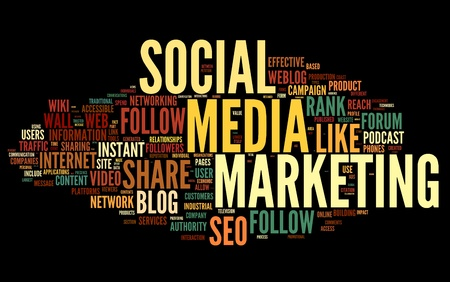 Social media marketing concept in word tag cloud on black background photo