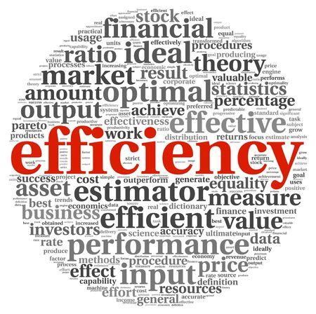 eficiencia: Concepto de Eficiencia en la etiqueta de nube de palabras en el fondo blanco Foto de archivo