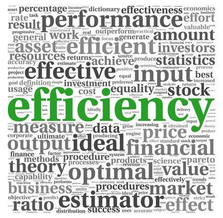 effizient: Efficiency-Konzept in Wort tag cloud auf wei�em Hintergrund