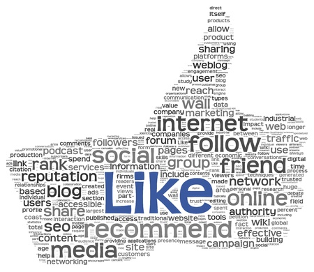 Like concept as social media symbol in tag cloud of thumb up shape  Isolated on white background photo