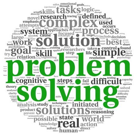 La résolution de problèmes concept nuage de tags mot sur fond blanc