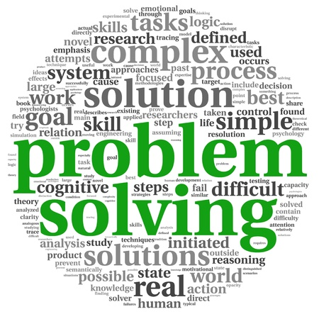 problem solved: Problem solving concept in word tag cloud on white background Stock Photo