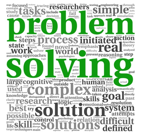 solve problems: Problem solving concept in word tag cloud on white background Stock Photo