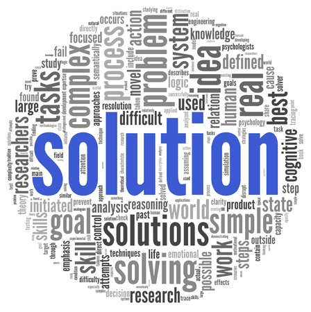 solve problems: Solution concept in word tag cloud on white background