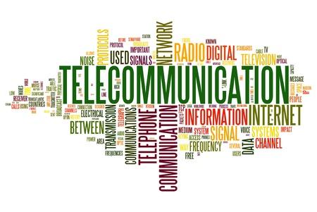 Telecommunicatie concept in woord tag cloud geïsoleerd op witte achtergrond Stockfoto