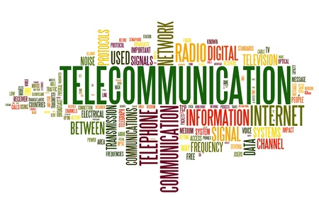 sender: Telecommunication concept in word tag cloud isolated on white background