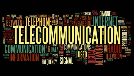 Telecommunication concept in word tag cloud isolated on black background Stock Photo - 13212890
