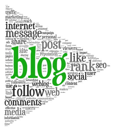 Blog concept in word tag cloud isolated on white background photo