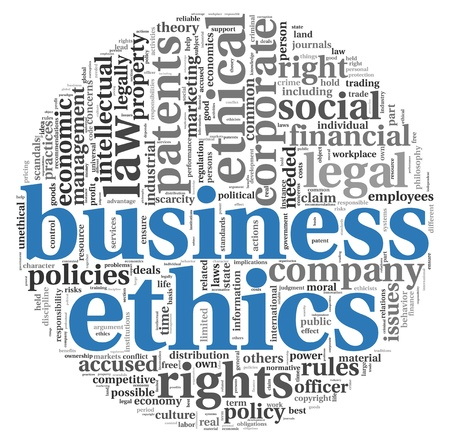 social responsibility: Business ethics concept related words in tag cloud on white