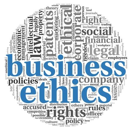 etica: Concepto de negocio relacionado con la ética palabras en nube de etiquetas en blanco