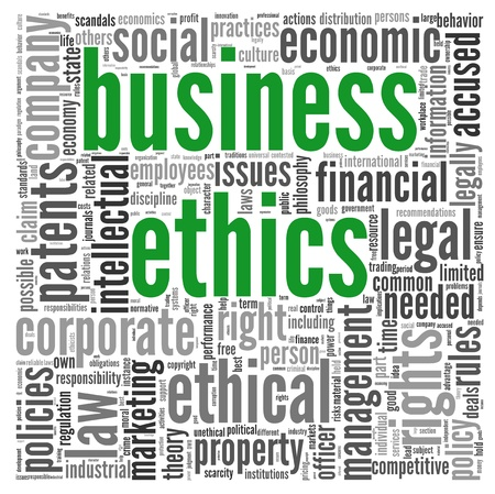 Business ethics concept related words in tag cloud on white photo