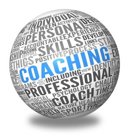 career coach: Coaching concept related words in spere tag cloud isolated on white
