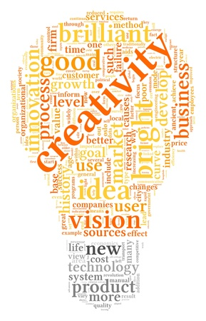 generate: Creativity concept related words in tag cloud of bulb shape Stock Photo