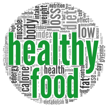 healthy lifestyle: Healthy food concept words in tag cloud on white background Stock Photo