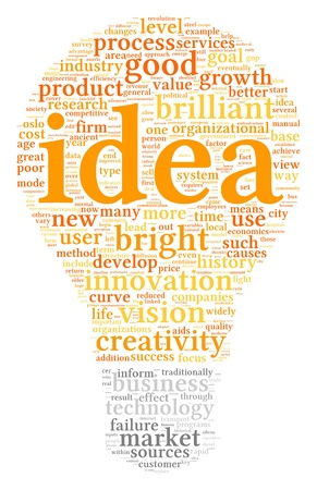 conceptual ideas: Idea concept related words in tag cloud of bulb shape