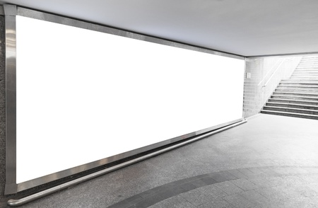 billboard blank: Blank billboard located in underground hall