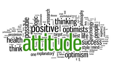 actitud positiva: Actitud concepto en la nube de palabra de la etiqueta en el fondo blanco