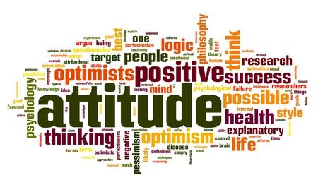 optimismo: Actitud concepto en la nube de palabra de la etiqueta en el fondo blanco