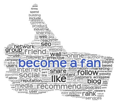 thumbup: Become a fan concept in tag cloud of thumb up shape isolated on white background