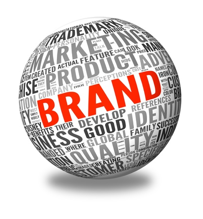 brand label: Brand related words in word tag cloud on 3d sphere isolated on white