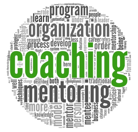 Coaching concept related words in tag cloud isolated on white Standard-Bild